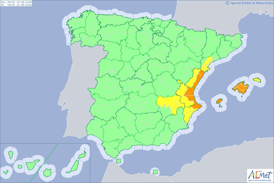 Map Of East Coast Of Spain.Weather Warnings Remain In Place For East Coast Of Spain Including
